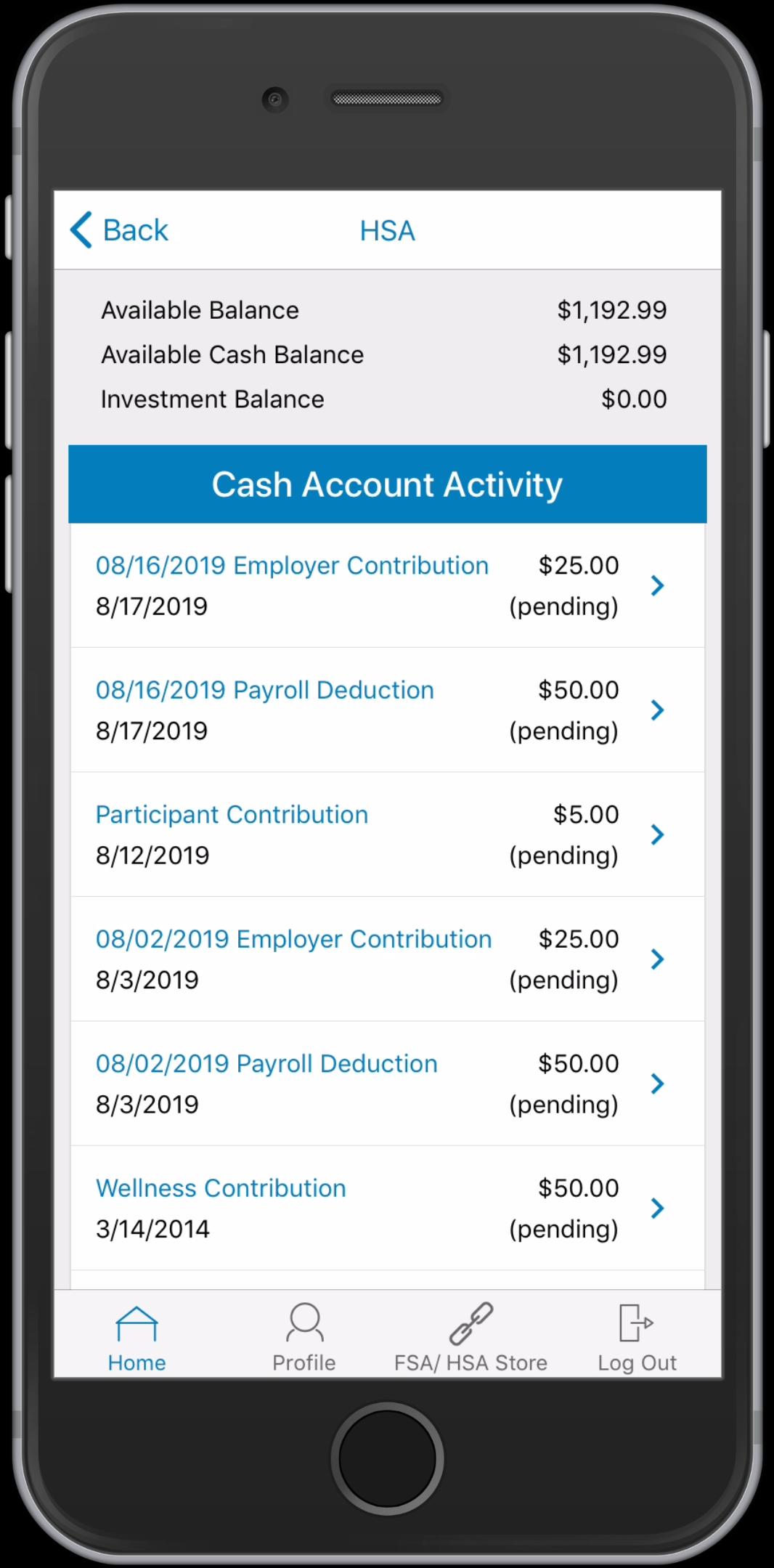 WEX Health Cloud Mobile App_HSA Account Activity