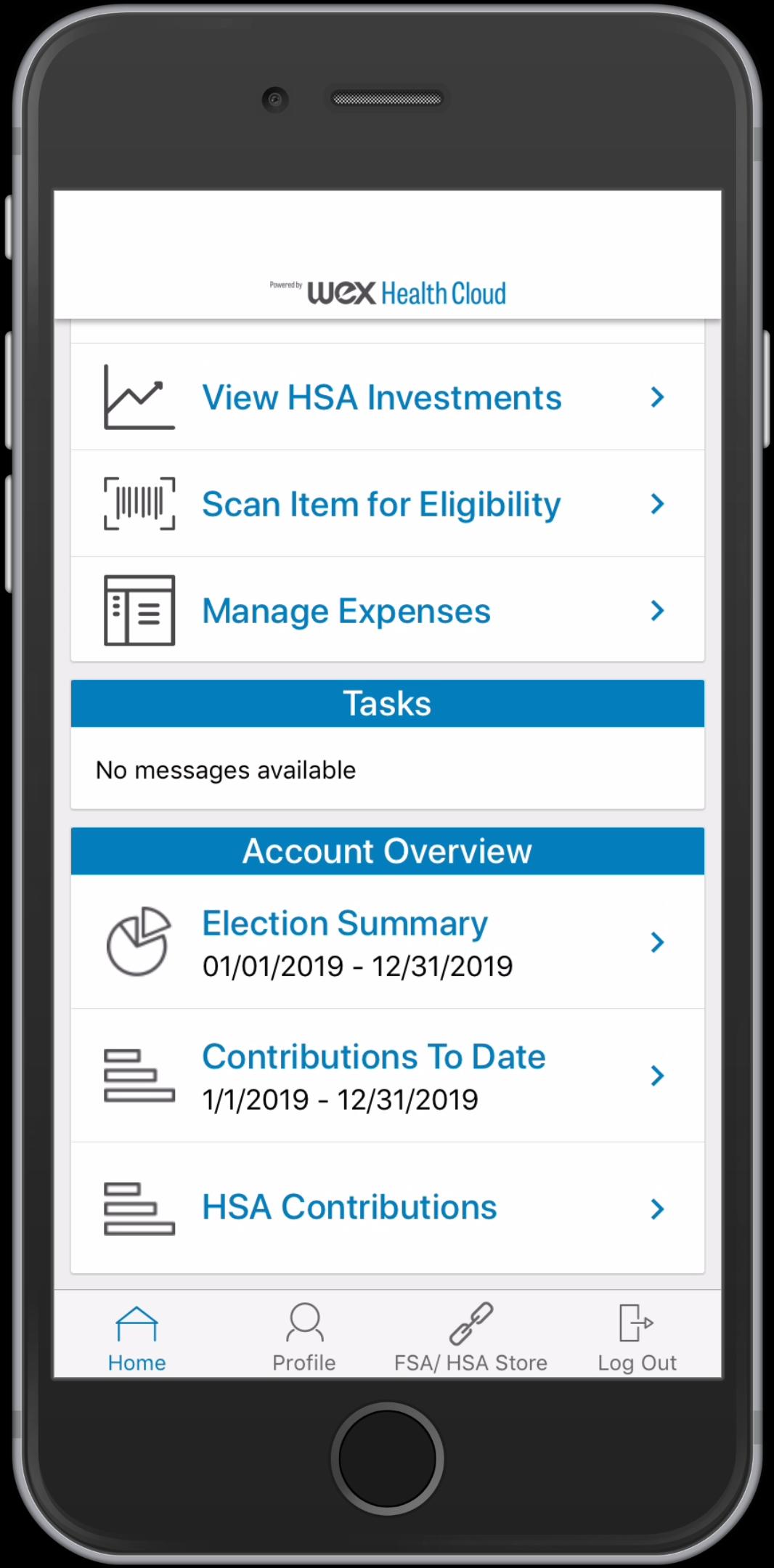 WEX Health Cloud Mobile App_HSA Home Screen