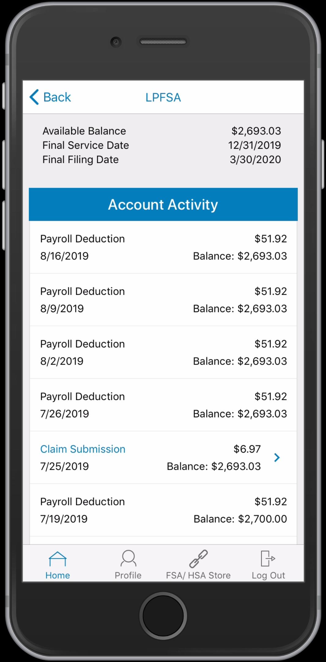 WEX Health Cloud Mobile App_LPFSA Account