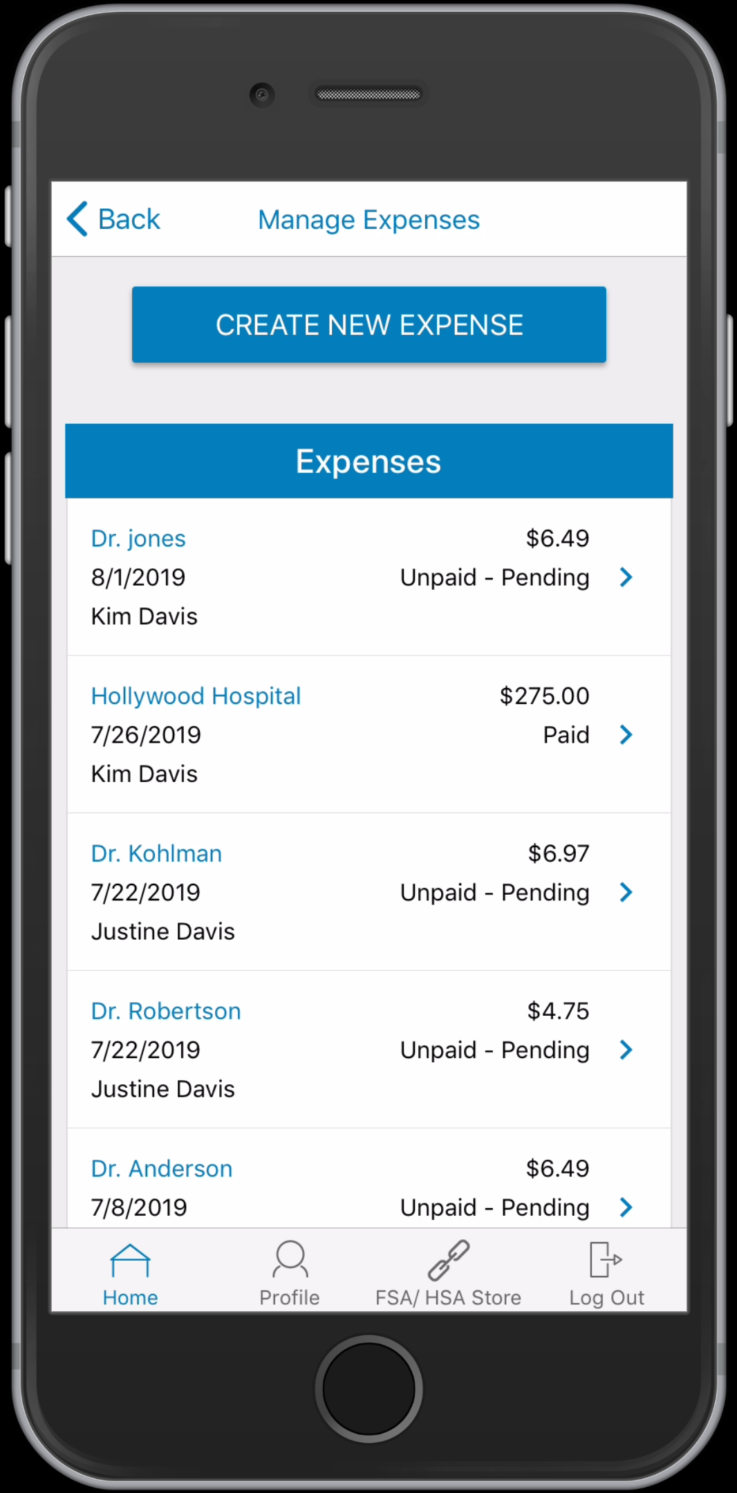 WEX Health Cloud Mobile App_Manage Expenses