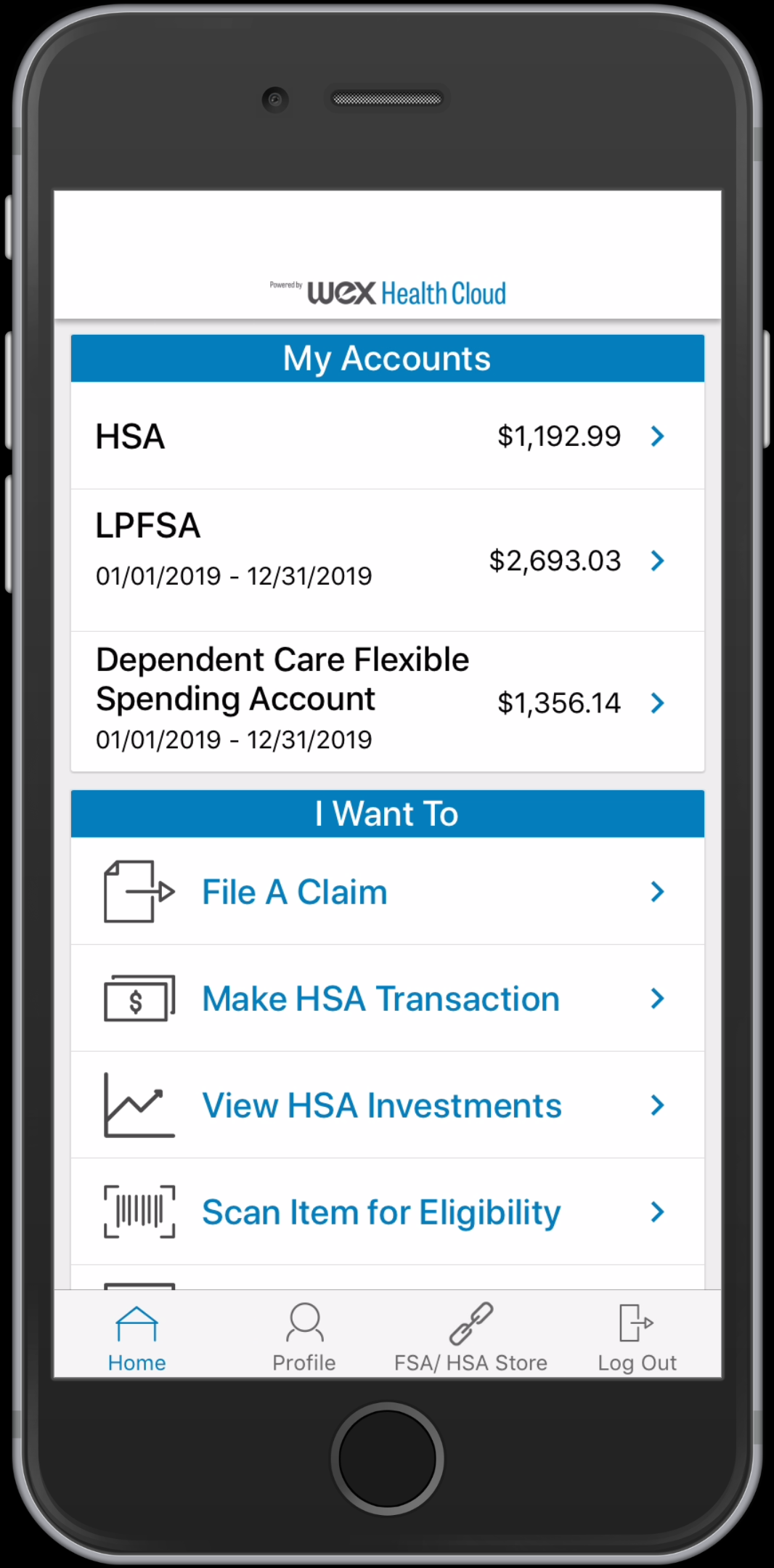 WEX Health Cloud Mobile App_multi account Home Screen